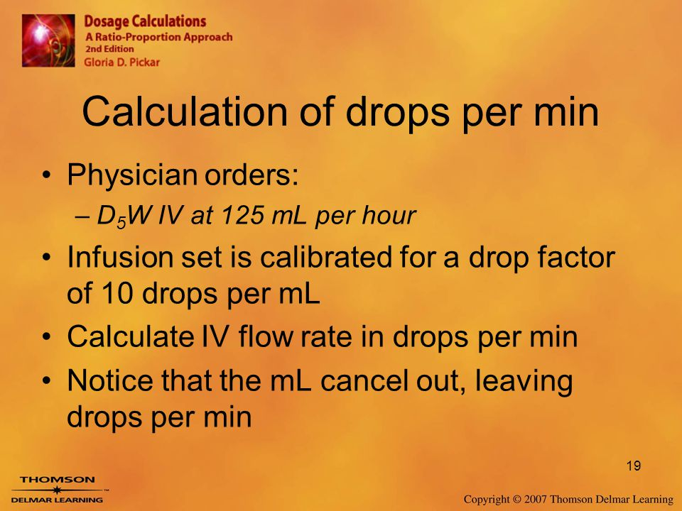 Calculation of drops per min