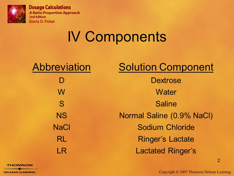 IV Components Abbreviation Solution Component D Dextrose W Water S