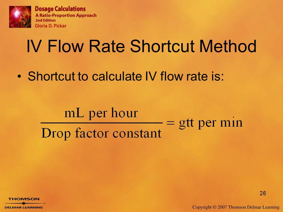 IV Flow Rate Shortcut Method