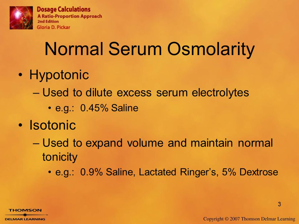 Normal Serum Osmolarity