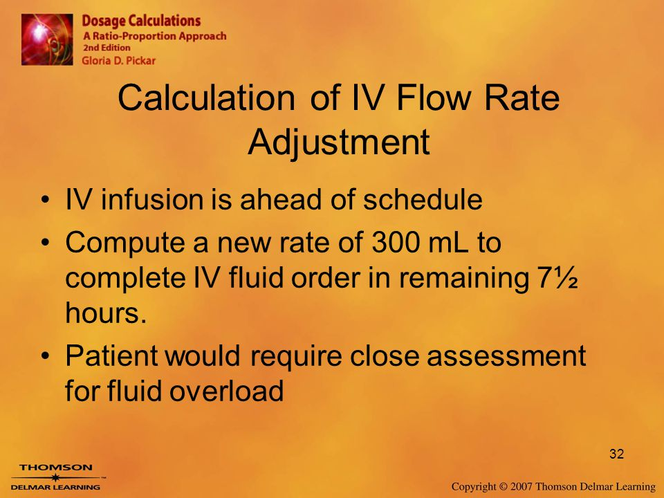 Calculation of IV Flow Rate Adjustment