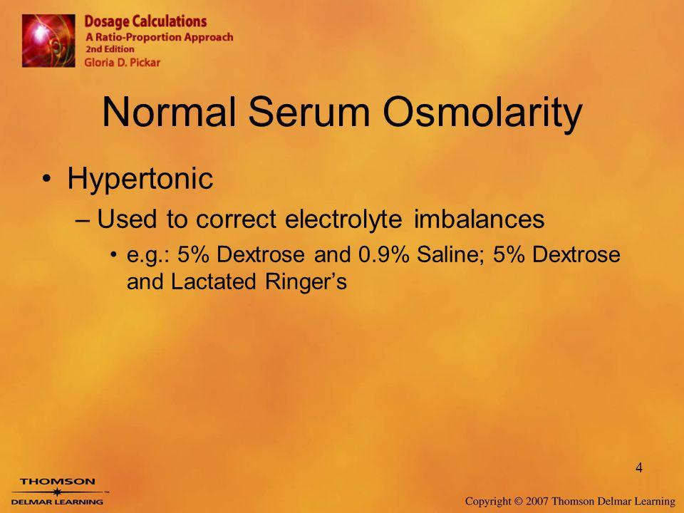 Normal Serum Osmolarity