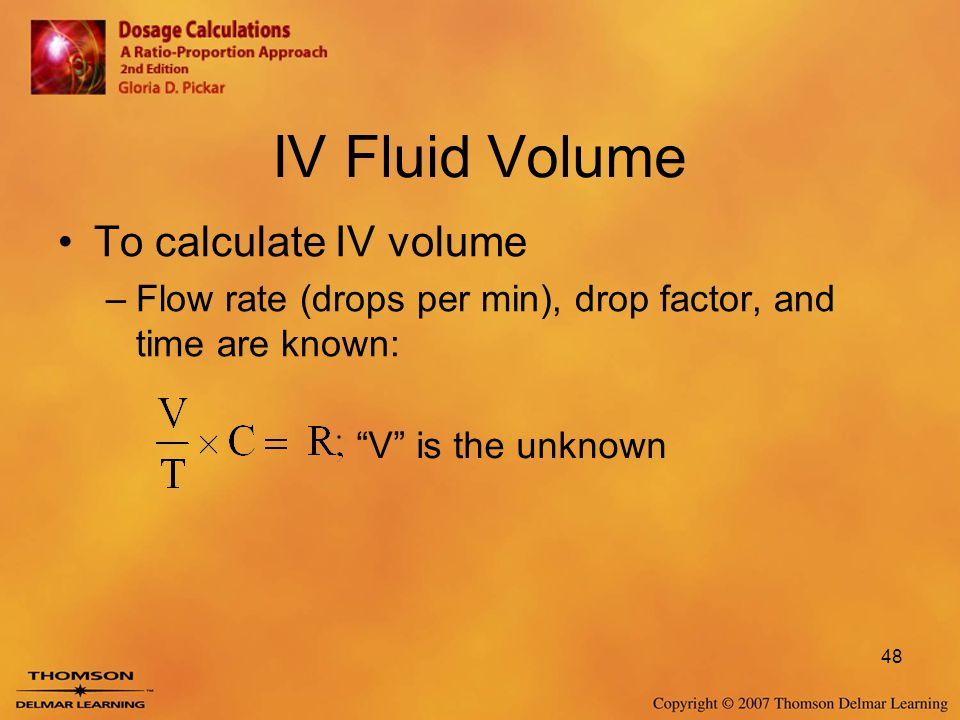 IV Fluid Volume To calculate IV volume