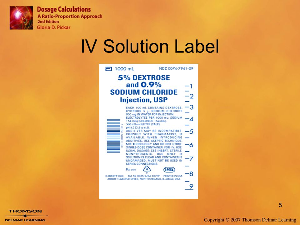 IV Solution Label