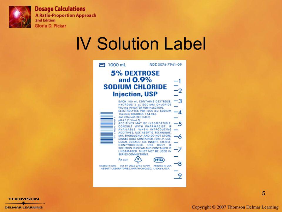 IV Solution Label