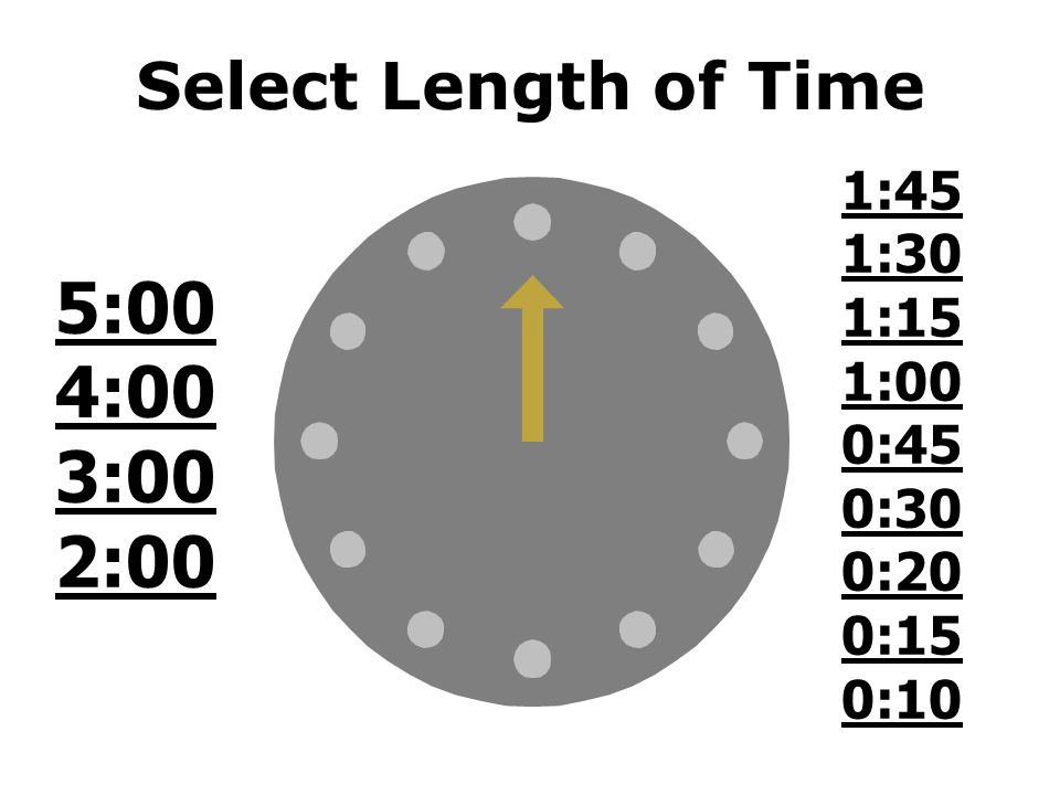 5:00 4:00 3:00 2:00 Select Length of Time 1:45 1:30 1:15 1:00 0:45