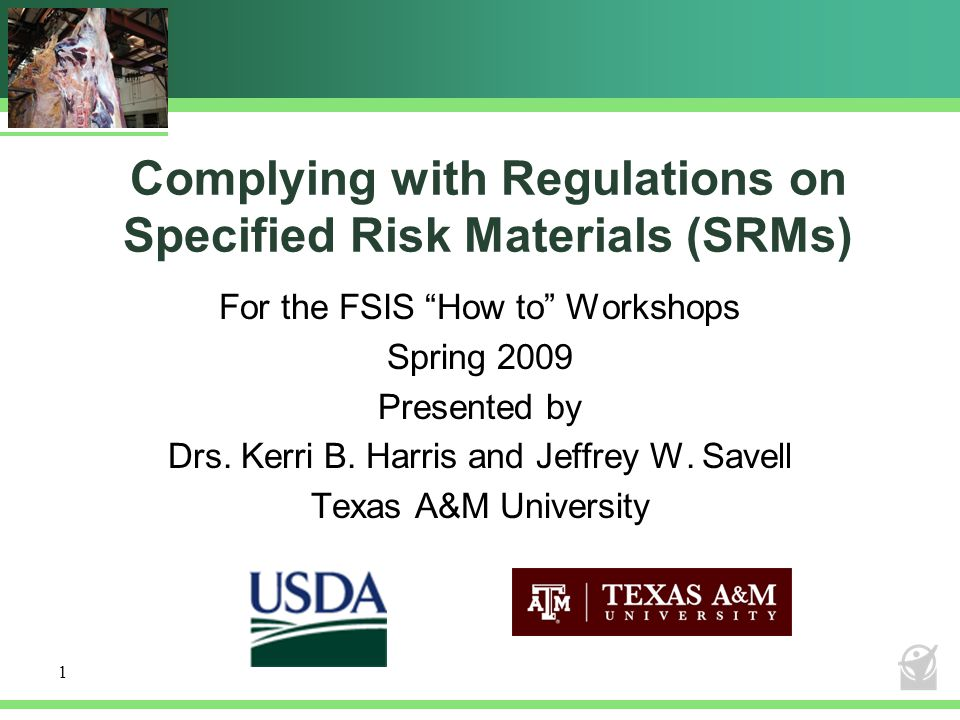 Complying with Regulations on Specified Risk Materials (SRMs)