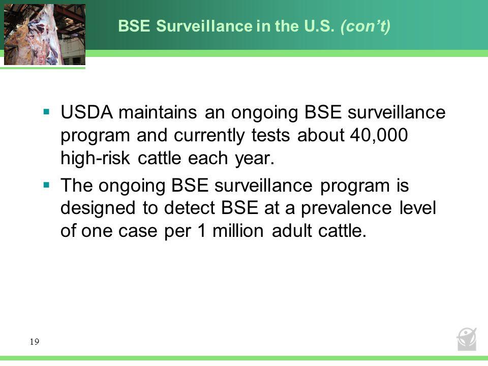 BSE Surveillance in the U.S. (con't)