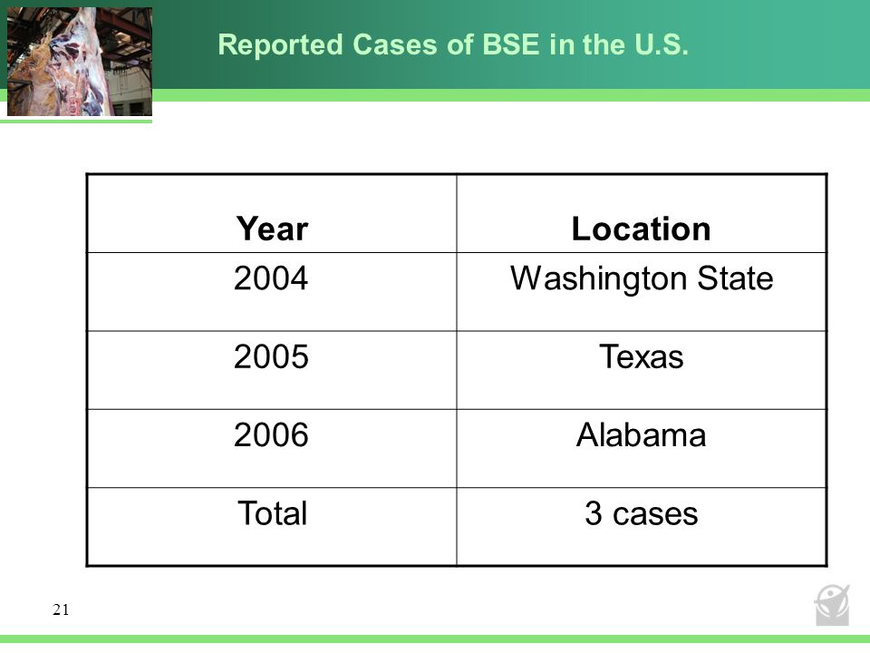 Reported Cases of BSE in the U.S.