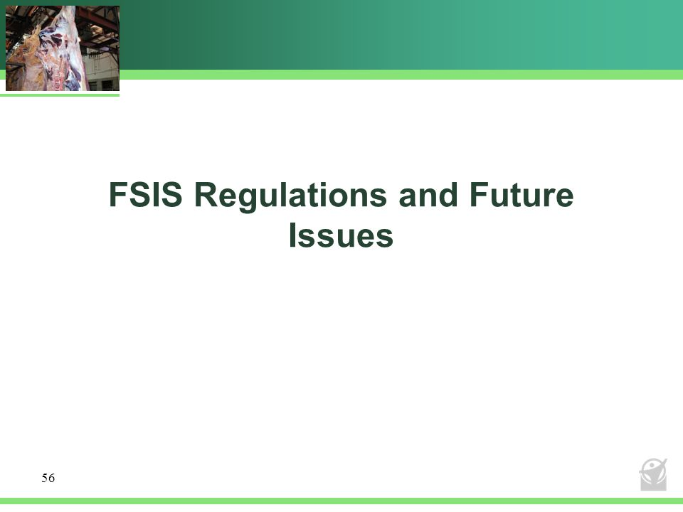 FSIS Regulations and Future Issues