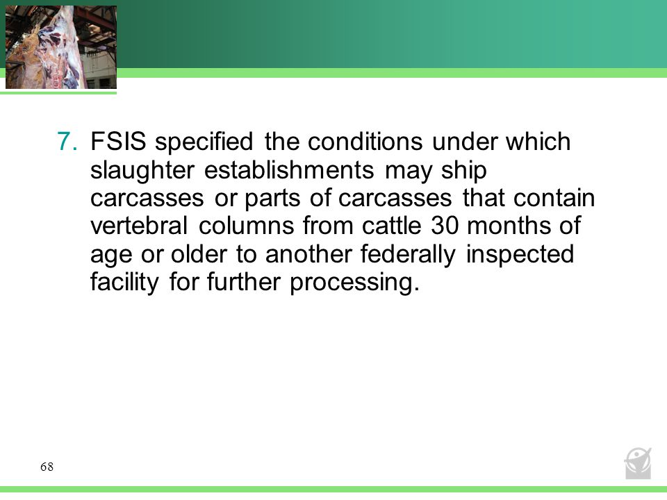 FSIS specified the conditions under which slaughter establishments may ship carcasses or parts of carcasses that contain vertebral columns from cattle 30 months of age or older to another federally inspected facility for further processing.