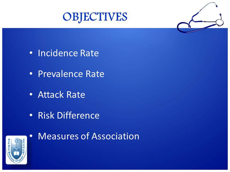 OBJECTIVES Incidence Rate Prevalence Rate Attack Rate Risk Difference