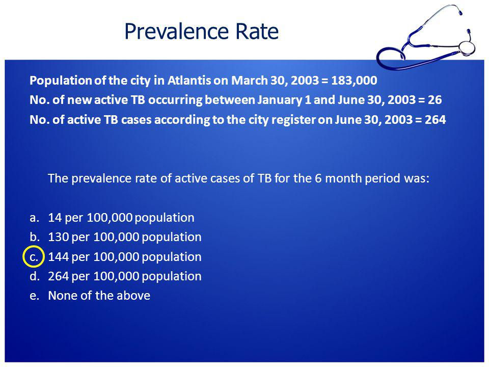 Prevalence Rate Population of the city in Atlantis on March 30, 2003 = 183,000.