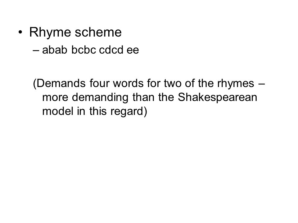 Rhyme scheme abab bcbc cdcd ee
