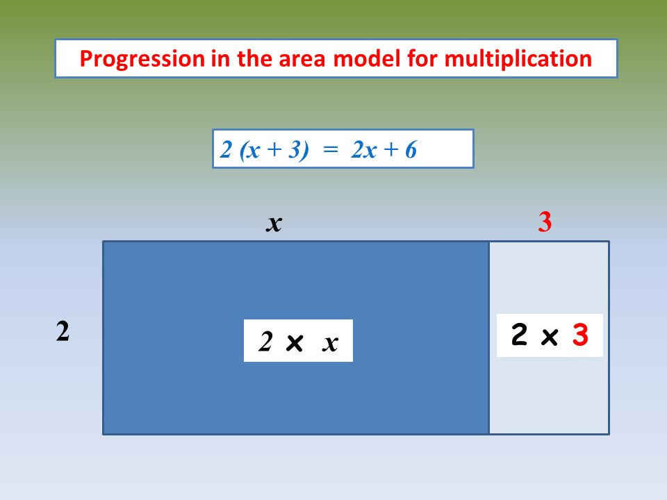 Progression in the area model for multiplication