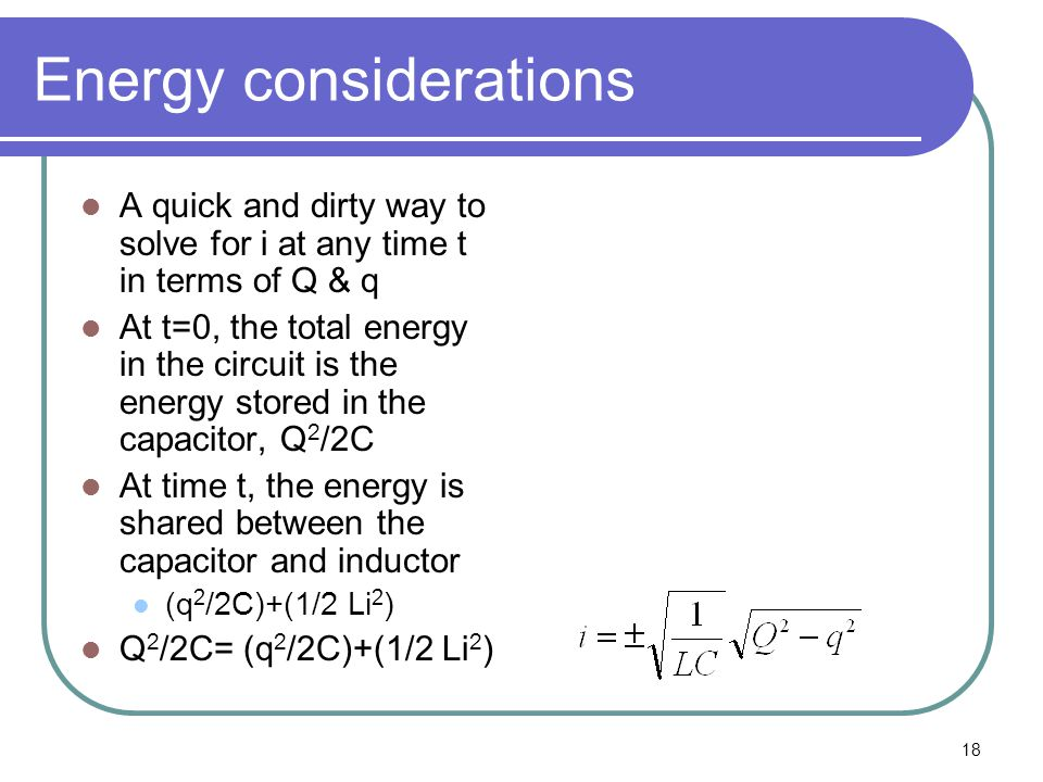 Energy considerations