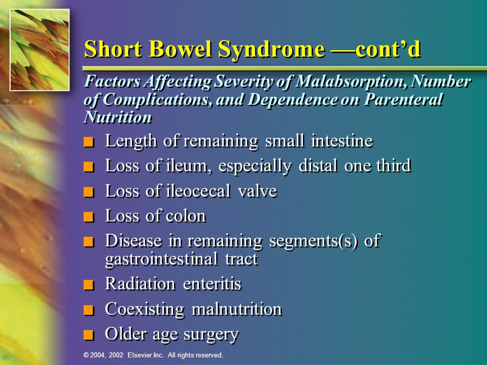 Short Bowel Syndrome —cont'd