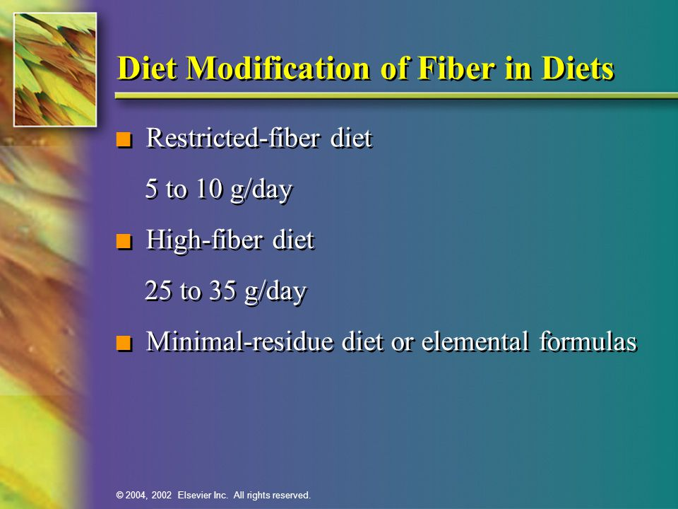 Diet Modification of Fiber in Diets