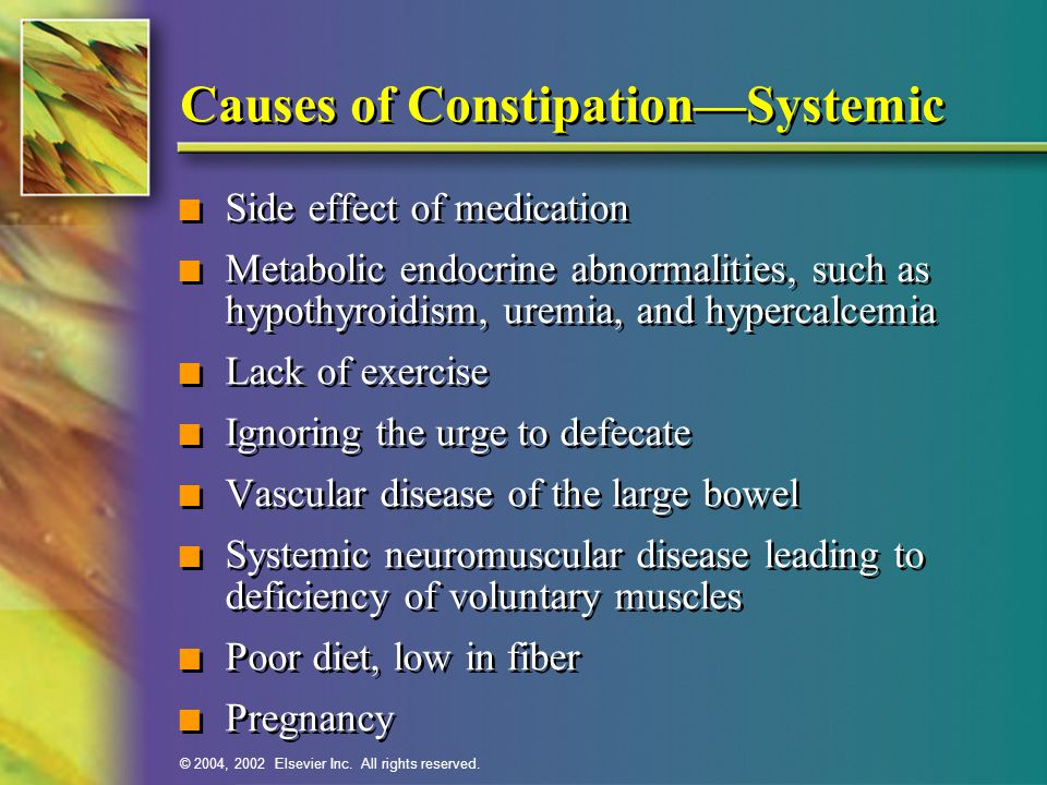 Causes of Constipation—Systemic