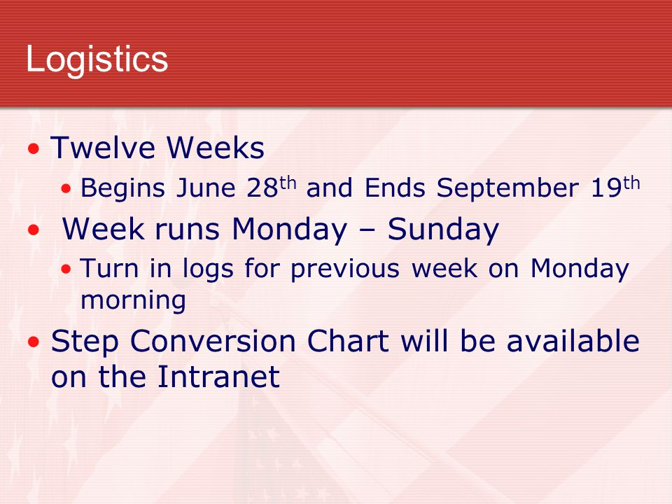 Logistics Twelve Weeks Week runs Monday – Sunday