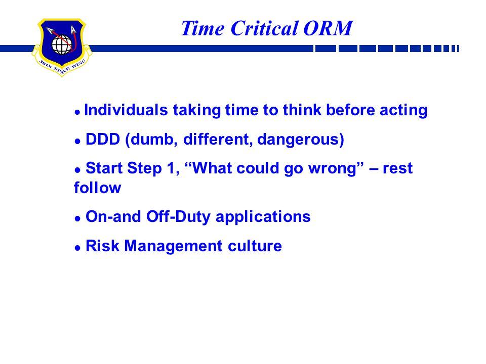 Time Critical ORM DDD (dumb, different, dangerous)