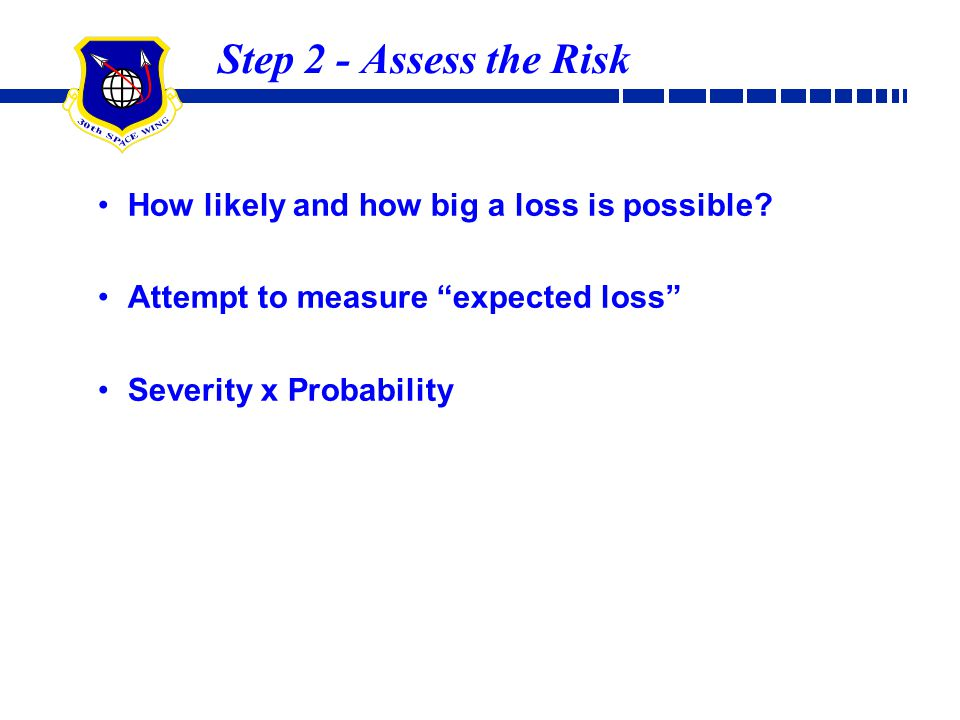Step 2 - Assess the Risk How likely and how big a loss is possible
