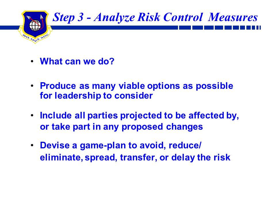 Step 3 - Analyze Risk Control Measures