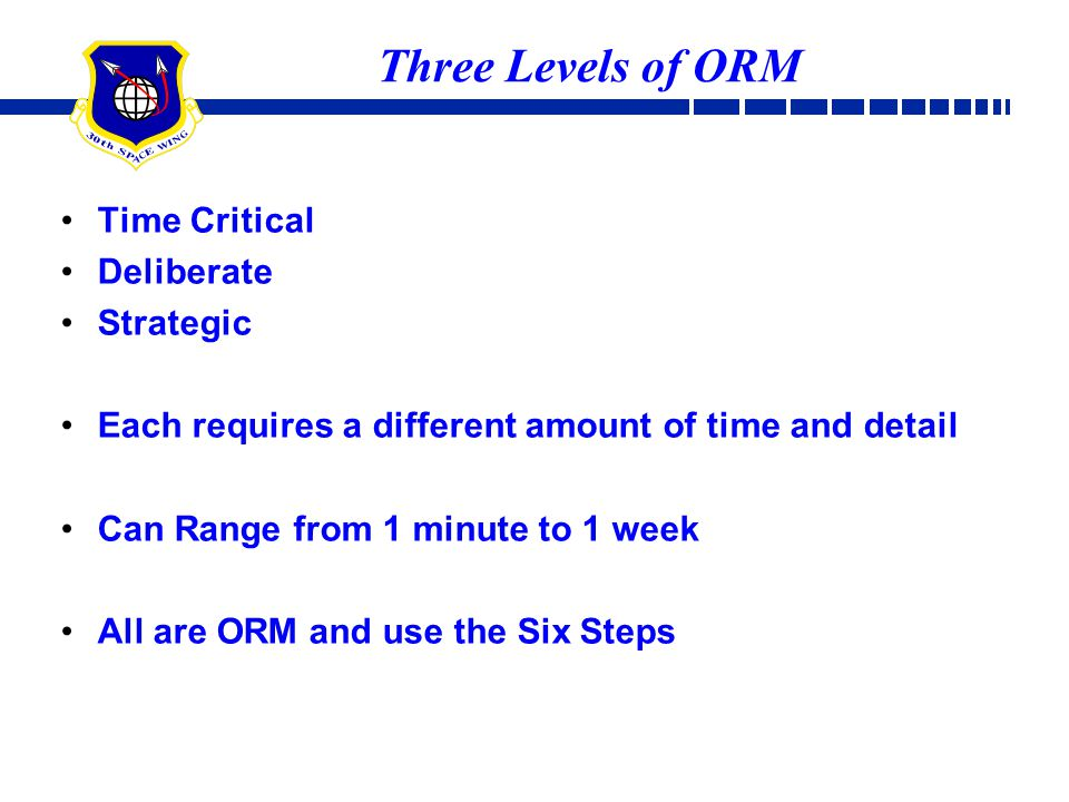 Three Levels of ORM Time Critical Deliberate Strategic