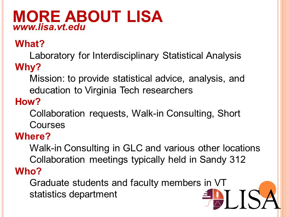 MORE ABOUT LISA www.lisa.vt.edu What