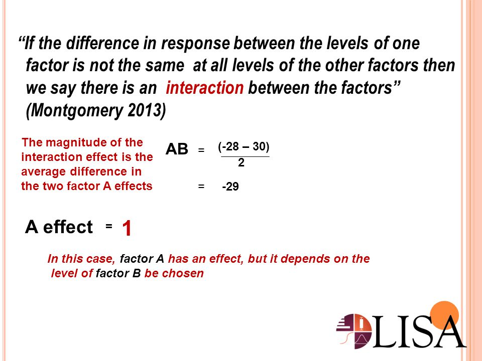 1 If the difference in response between the levels of one