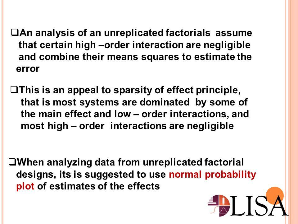 An analysis of an unreplicated factorials assume