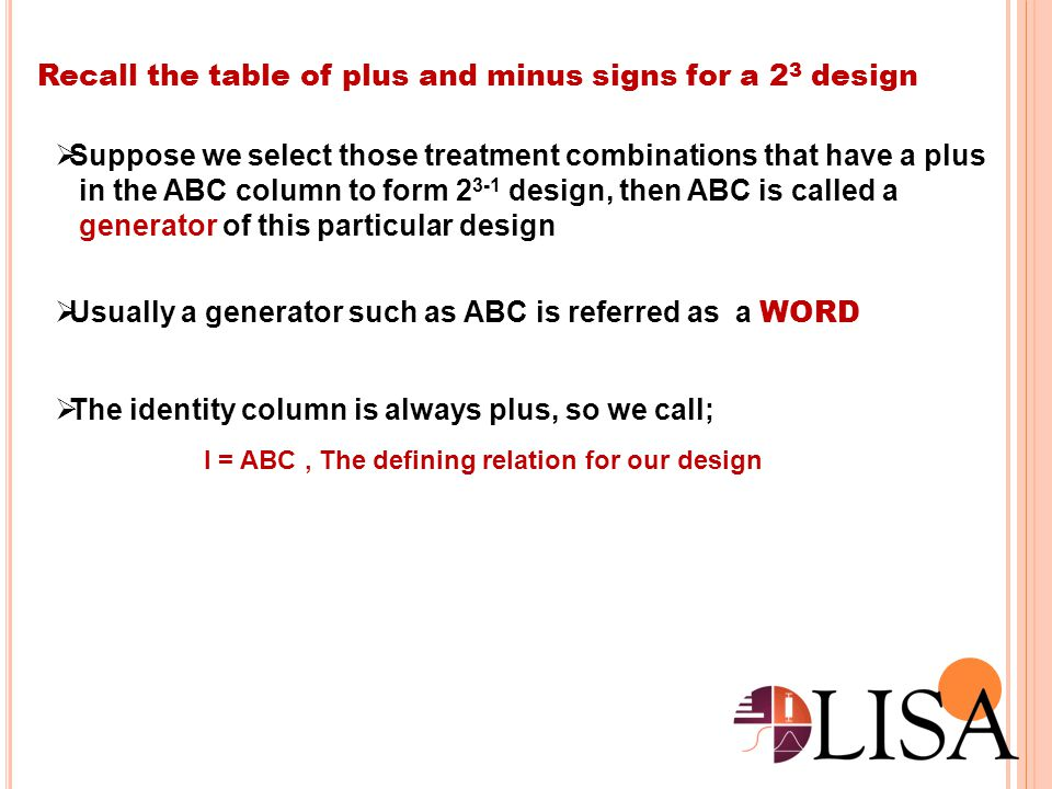 Recall the table of plus and minus signs for a 23 design