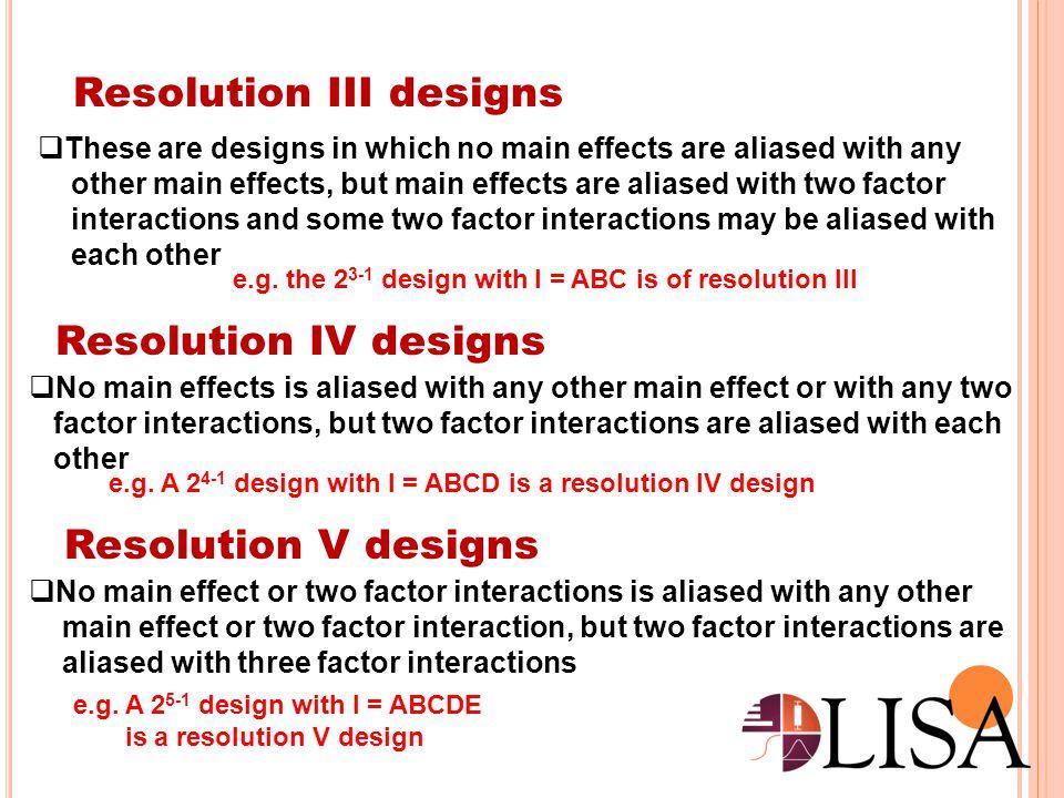 Resolution III designs