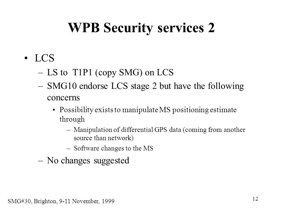 WPB Security services 2 LCS LS to T1P1 (copy SMG) on LCS