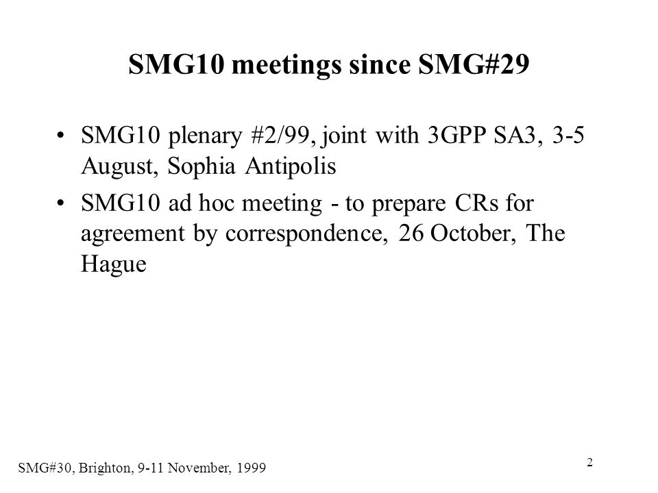 SMG10 meetings since SMG#29