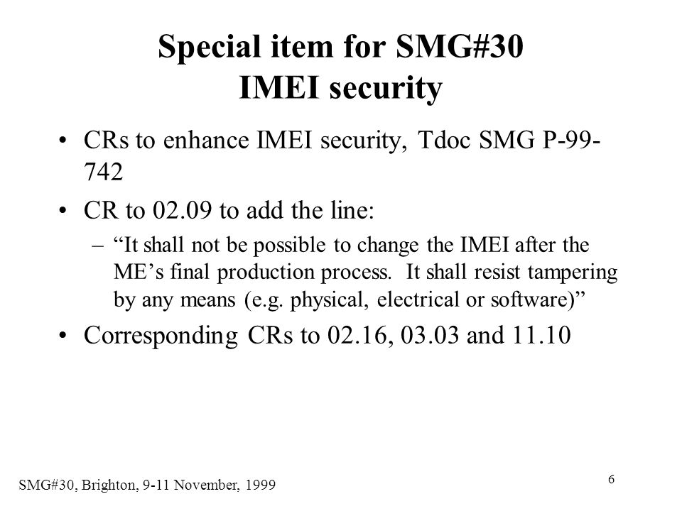 Special item for SMG#30 IMEI security