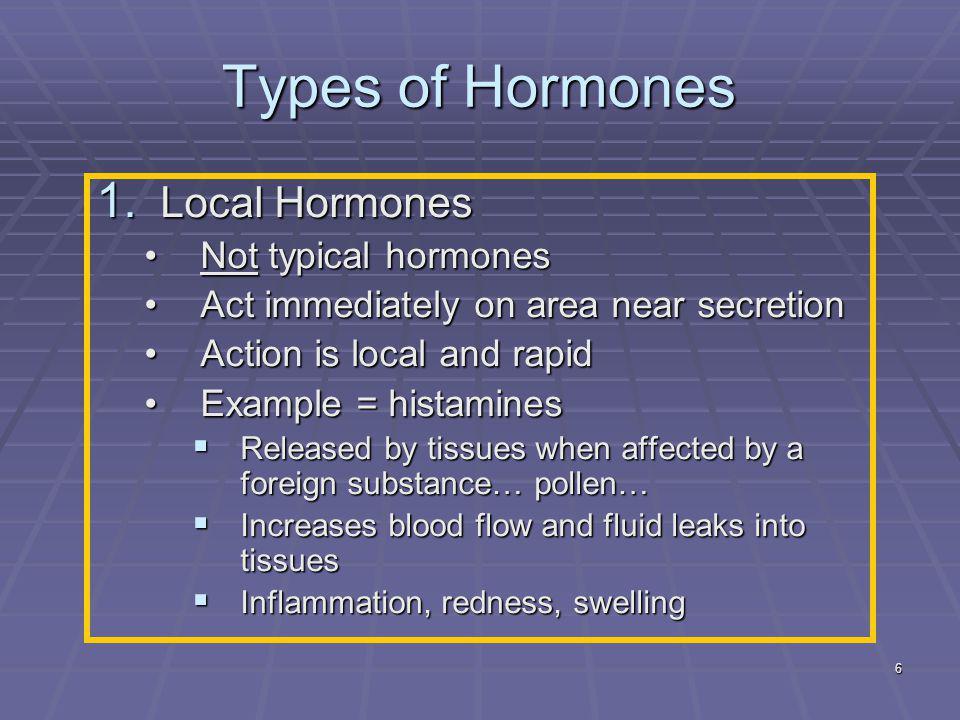 Types of Hormones Local Hormones Not typical hormones