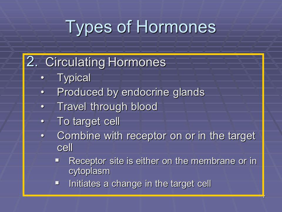Types of Hormones Circulating Hormones Typical