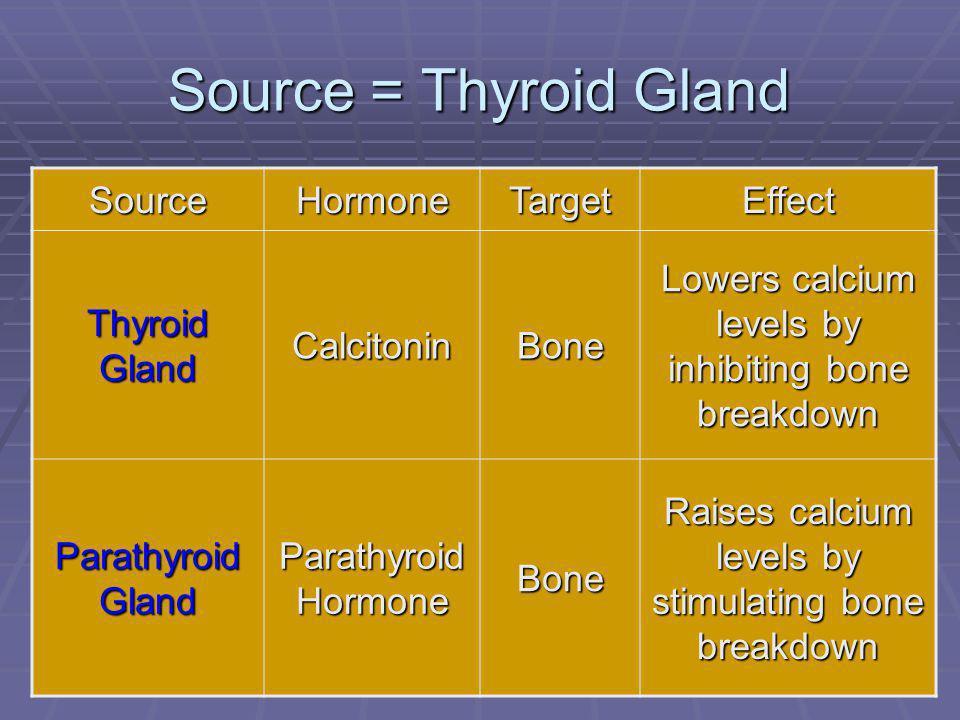 Source = Thyroid Gland Source Hormone Target Effect Thyroid Gland