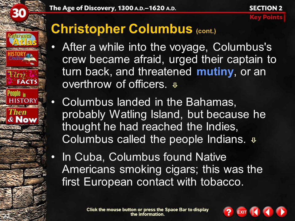 Christopher Columbus (cont.)