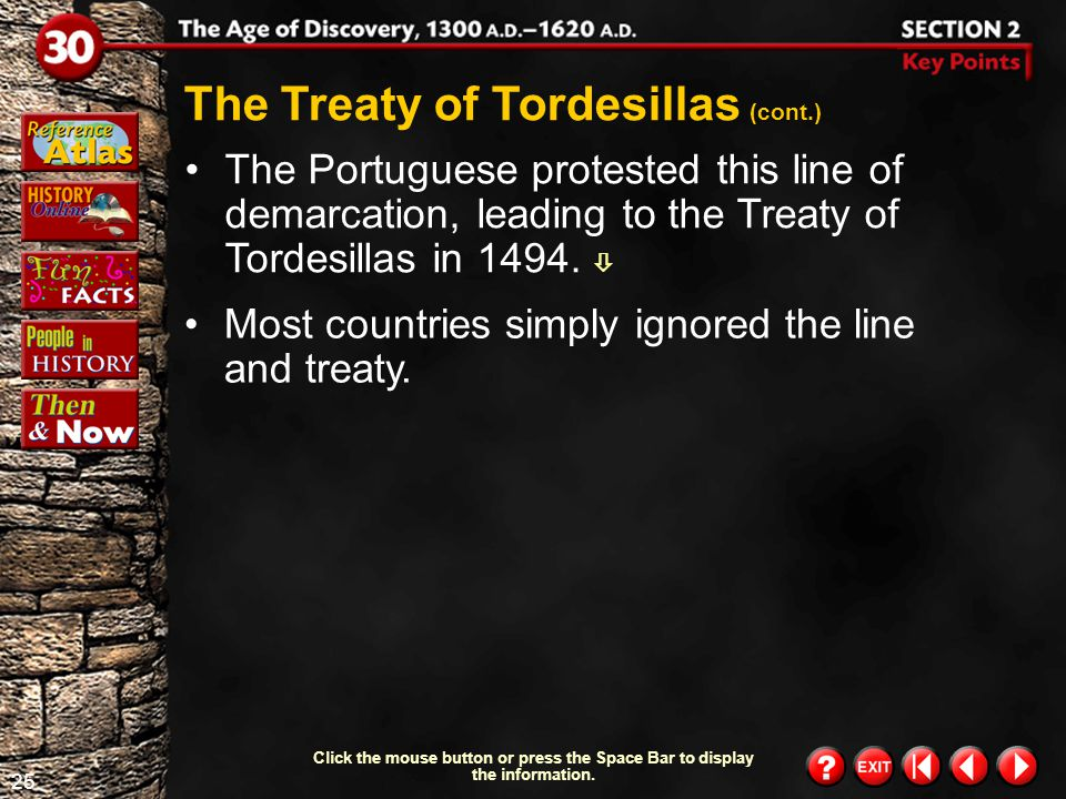 The Treaty of Tordesillas (cont.)