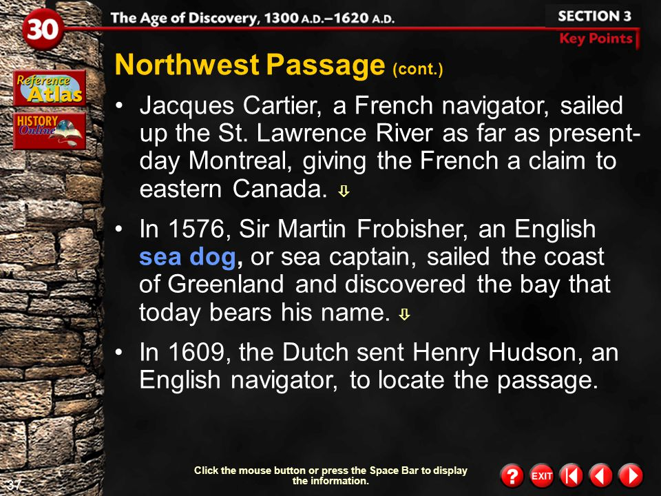 Northwest Passage (cont.)