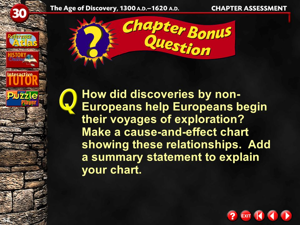How did discoveries by non-Europeans help Europeans begin their voyages of exploration Make a cause-and-effect chart showing these relationships. Add a summary statement to explain your chart.