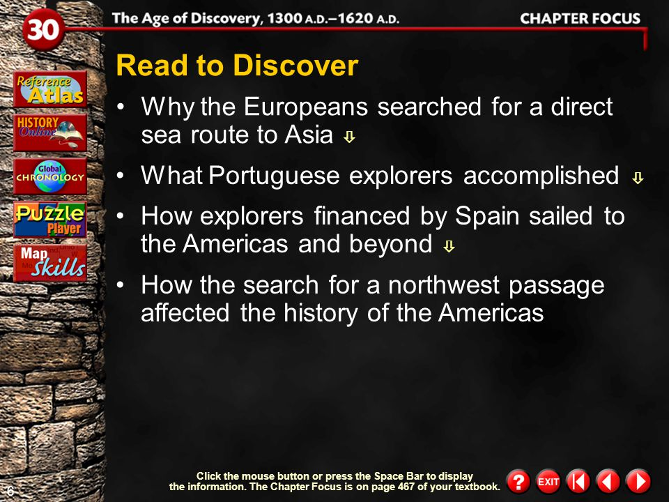 Read to Discover Why the Europeans searched for a direct sea route to Asia  What Portuguese explorers accomplished 