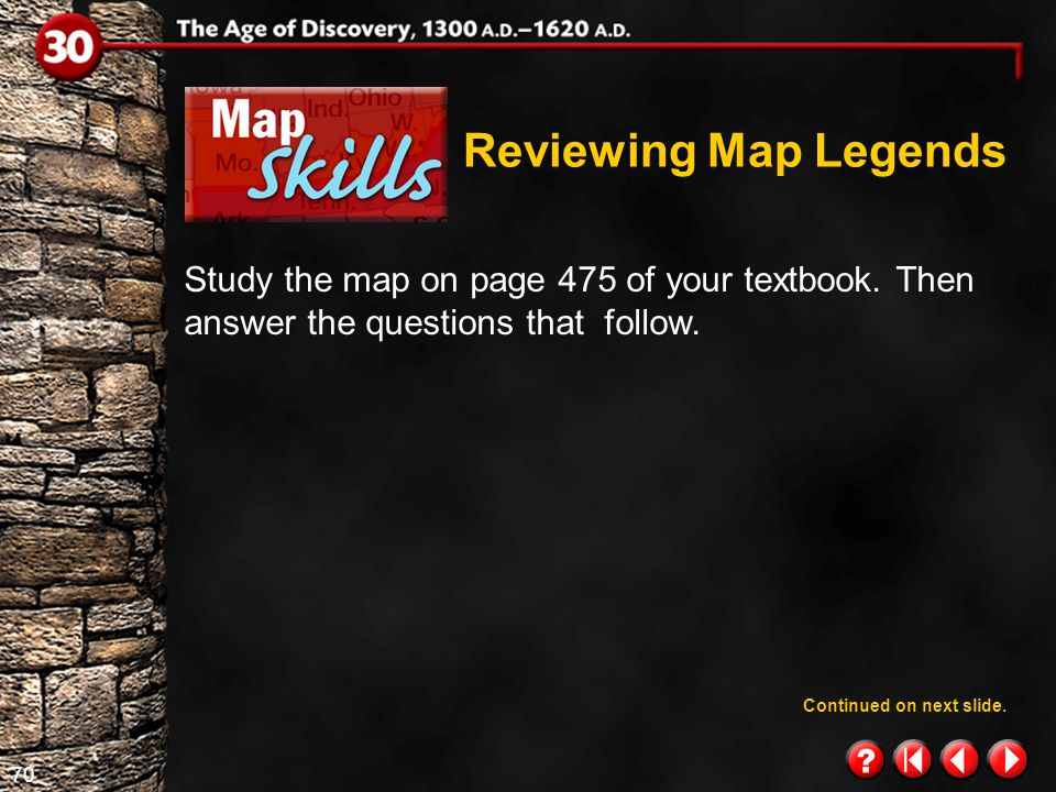 Reviewing Map Legends Study the map on page 475 of your textbook. Then answer the questions that follow.
