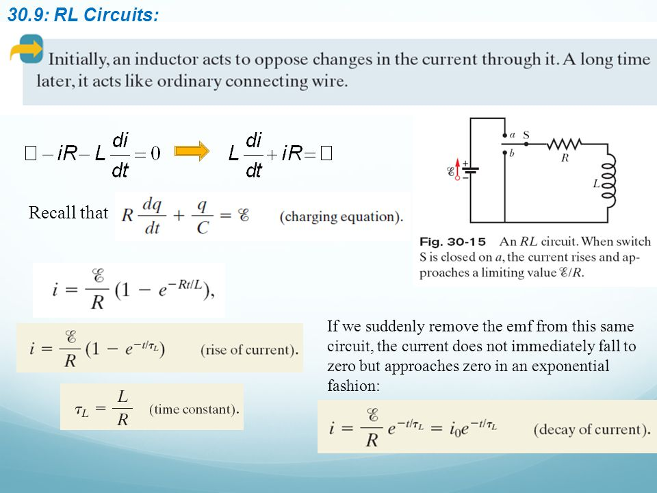 30.9: RL Circuits: Recall that