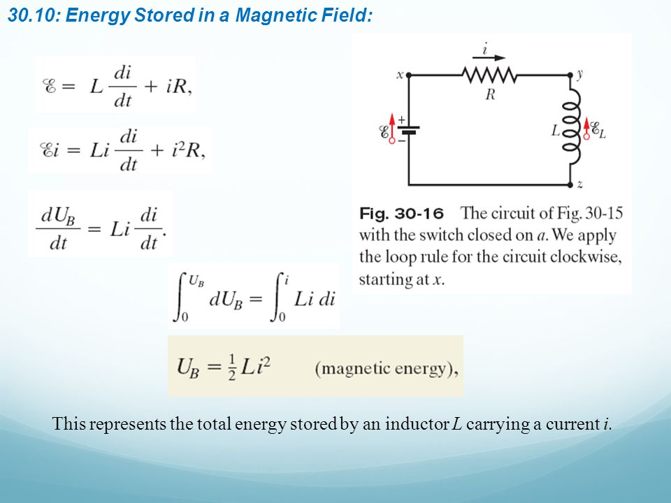 30.10: Energy Stored in a Magnetic Field: