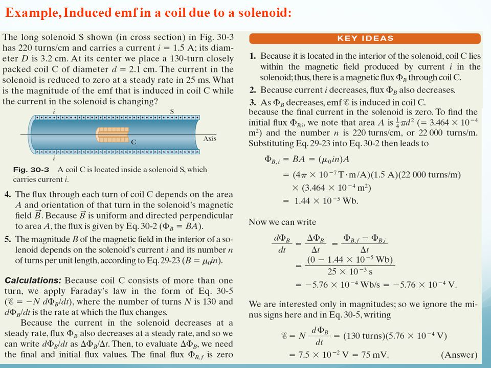 Example, Induced emf in a coil due to a solenoid:
