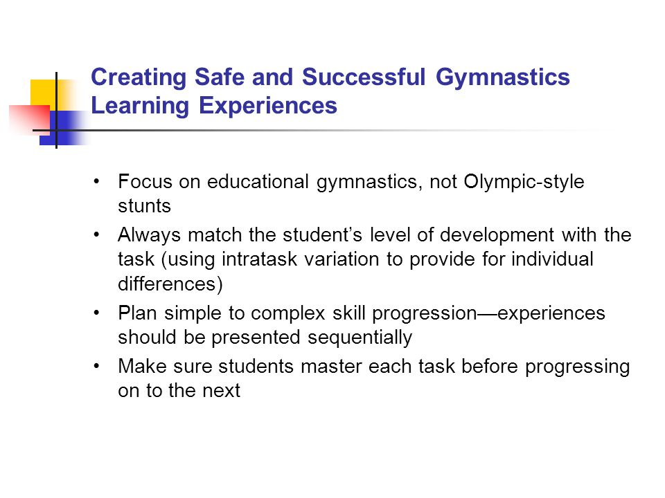 Creating Safe and Successful Gymnastics Learning Experiences