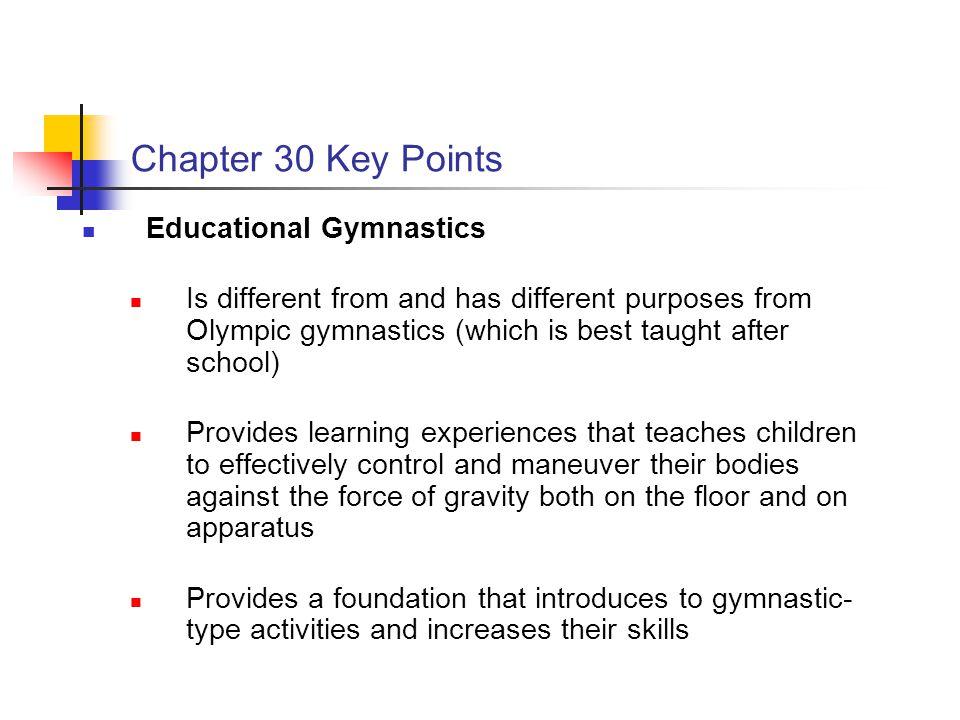 Chapter 30 Key Points Educational Gymnastics